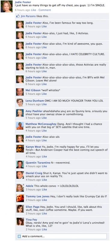 Jodie Foster's Golden Globe Facebook Status