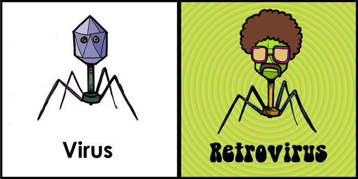 science memes jokes scientific funny virus puns biology retrovirus microbiology humor humour least joke geek nerd scientists comediva fun viral